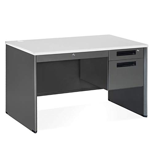 OFM Executive Series Single Pedestal Panel End Desk with Center Drawer - Durable Locking Utility Desk, 29.50