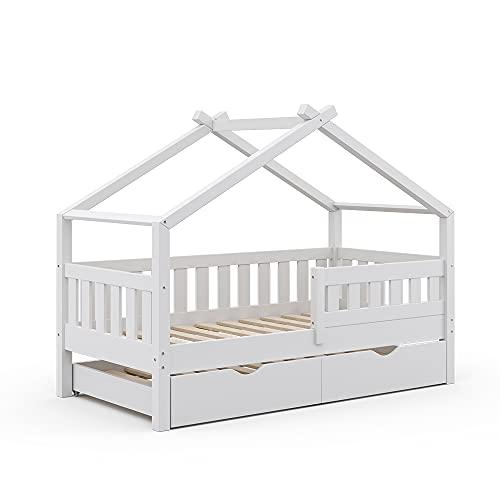 VitaliSpa Design Kinderbett 160x80 Babybett Hausbett Gästebett Lattenrost (Weiß)