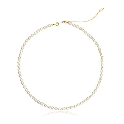 InzheG Pearl Necklace Dainty Choker Baroque Cultured Strands Short Tiny Chain Handmade Vintage Jewelry for Women Girls