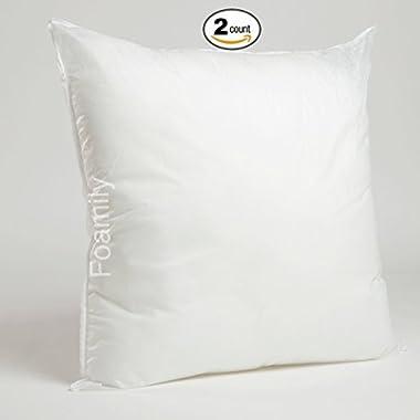 Set of 2-26 x 26 Premium Hypoallergenic Stuffer Pillow Insert Sham Square Form Polyester, Standard/White - MADE IN USA