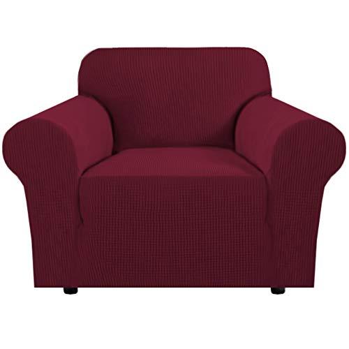 Stretchstuhl Couchbezug Möbelschutz, 1-Sitzer-Mantel Sofabezüge Sofabezug für Wohnzimmer Jaquard-Couchbezug, bequem und langlebig (1-Sitzer, Burgunderrot)