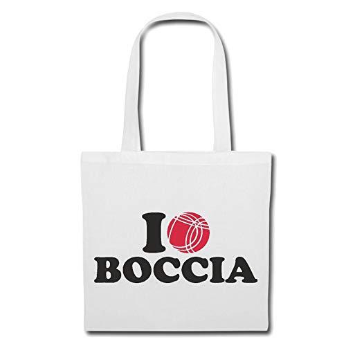 Tasche Umhängetasche I Love Boccia - Kugeln - Boccia Regeln - Spieler - Spielerin Einkaufstasche Schulbeutel Turnbeutel in Weiß