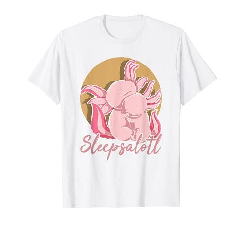 Bebé Ajolote Durmiendo Salamandra Animal Sleepsalotl Axolotl Camiseta