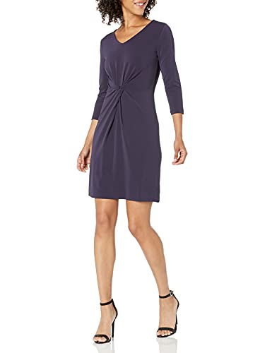 Lark & Ro Women's Crepe Knit Three Quarter Sleeve Center Twist Dress, Navy, 6