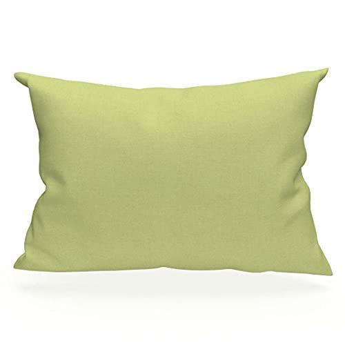 Kissenbezug US 50x75 cm Baumwolle uni grün SOLEIL D'OCRE