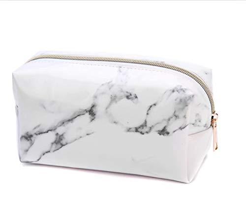 1PC Bolsa de cosméticos marmoleada, bolsa de cosméticos de PU, bolsa de lavado de viaje portátil, bolsa de almacenamiento de cosméticos de gran capacidad