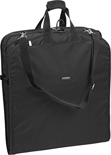 WallyBags Carry On Garment Bag for Travel with Shoulder Strap & Two Pockets, 42-inch Suit Length, Black