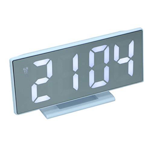 perfeclan Despertador Electrónico Digital Sobremesa Reloj de Esoejo LED con Cable de Proyección USB Adornos para Habitación Coche - D