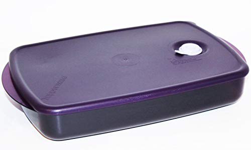 Tupperware Vent 'N Serve Large Shallow Rectangle 6 Cups Purple