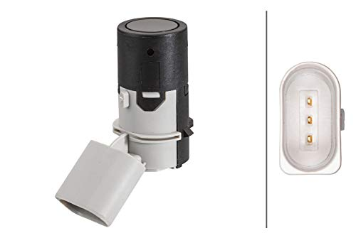 HELLA 6PX 358 141-191 Sensor, Einparkhilfe - gewinkelt - 3-polig - gesteckt - lackierbar - ohne Befestigungsring