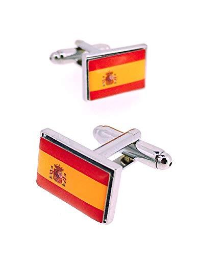 Gemelolandia | Gemelos para Camisa Bandera Nacional del Reino de España Gemelos Originales Para Camisas | Para Hombres y Niños | Regalos Para Bodas, Comuniones, Bautizos y Otros Eventos