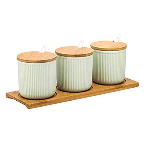 TYUIOO Glassa di Colore condimento Vaso di Ceramica di Combinazione Set Tre Pezzi da Cucina e spezie Scatola di Legno Vassoio (Verde)