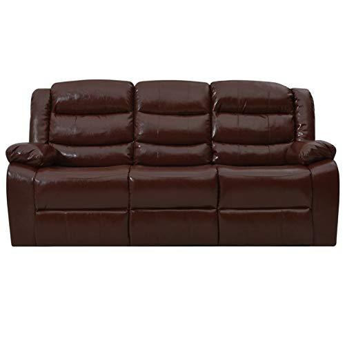 Tidyard Liegesofa 3-Sitzer Sofa Couch Kunstleder Loungesofa Heimkino Relaxsofa Kinosofa Liegestuhl Braun