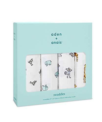 aden + anais(エイデンアンドアネイ) 【日本正規品】 モスリンコットン おくるみ 4枚セット swaddle 4 pack...