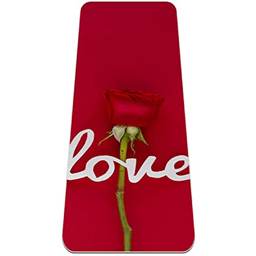 Esterilla de yoga, Classic Pro Fitness Mat TPE Eco Friendly Esterilla de ejercicio antideslizante para yoga, pilates y gimnasia, carta de amor, rosa flor roja