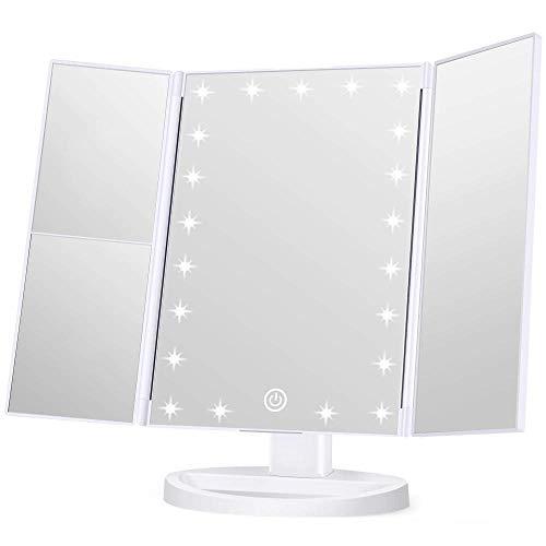 KJDSW Espejo de Maquillaje Espejo de vanidad con Luces 1x 2X 3X Interruptor de Pantalla táctil de Aumento Fuente de alimentación Dual Maquillaje portátil de Triple Pliegue