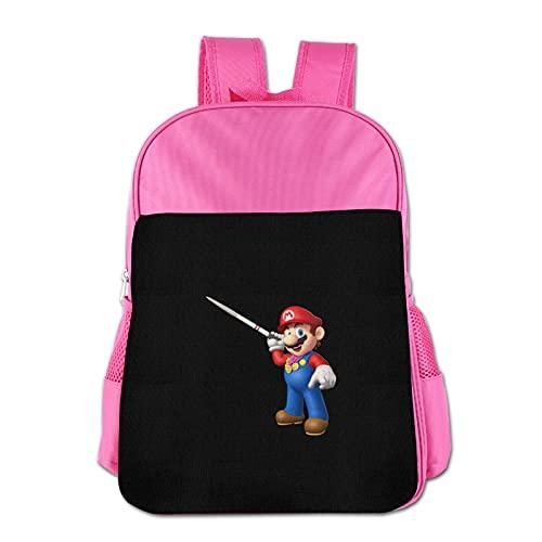 Mario - Mochila para niños de poliéster impermeable para niños de 3 a 13 años, rosa, Talla única