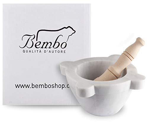 Mortaio Bembo per Pesto o Spezie in Marmo Bianco di Carrara con Pestello - Modello Genovese (Imballo Standard) (ø 16 cm)