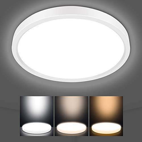 LED Deckenleuchte Dimmbar, AVANLO 3000k/4000k/6500k Einstellbar Deckenlampe LED Panel, Ø40cm Küchenlampe 2800lm, Wohnzimmerlampe Badezimmer Lampe, Deckenleuchte Rund für Büro, Dünn, 4000k
