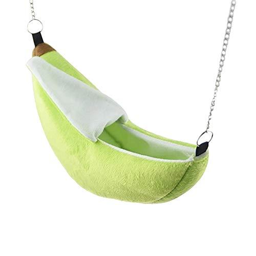 Tianhao - Casetta sospesa per criceto, motivo banana, amaca, gabbia per animali piccoli, altalena, in cotone, giallo/verde