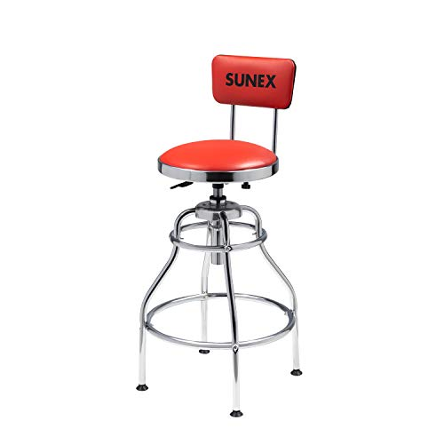 Sunex 8516 Hydraulic Shop Stool HighPolished Chrome Finish Hydraulic Seat Adjustment Vinyl Padded Adjustable Seat and Backrest Slip Resistant Feet 250Pound Capacity Silver