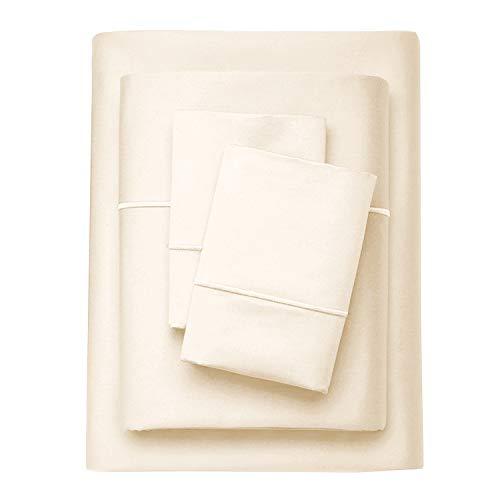 Aura Elegance Bettwäsche-Set aus ägyptischer Baumwolle, Fadenzahl 800, extra-langstapelig, 4-teilig, Satingewebe, Hotel-Kollektion Modern Full elfenbeinfarben