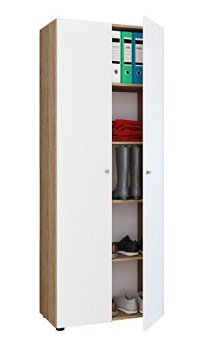VCM Mehrzweckschrank Dielenschrank Büroschrank Aktenschrank Schuhschrank sonoma-eiche / weiß 178 x 70 x 40 cm