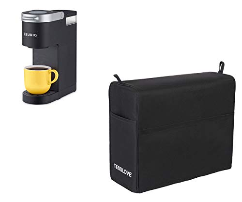 TESSLOVE Dust Cover for Keurig Coffee Maker K-Mini, Single Serve Coffee Makers, coffee machine, espresso machine, dust cover with 3 Storage Pockets for storing relative things (S, BLACK)