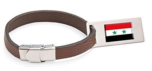 Select Gifts Syrien Fahne Leder Kofferanhänger Edelstahl Gravur Text