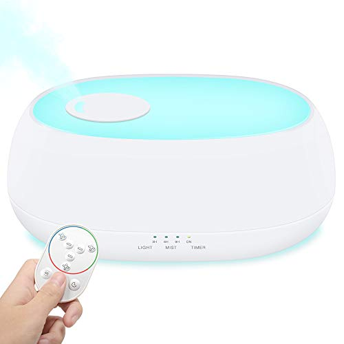 MADETEC Humidifiers for Bedroom and Baby, Quiet Ultrasonic Cool Mist Humidifier Aromatherapy Essential Oil Diffuser with Remote, 7 Night Lights, Adjustable Mist Output, Waterless Auto Shut-off (1L)