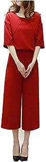 レディース   ワイドパンツ リラックスパンツ セットアップ 上下セットゆったり パンツドレス 韓国 カジュアル パーティー 女の子 ピンク 7分丈 セパレート スーツ パーティドレス  結婚式  3色 happy-online (M, ワインレッド)