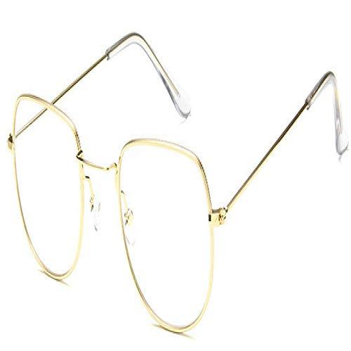 MIEMIE Bildschirmbrillen für Frauen Trendy Candy Coloured Sonnenbrillen Irregular Hexagon Sunglass Transparent Lens Eyewear Gold