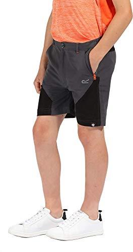 Regatta Unisex Kinder Sorcer Mountain leichte, Wasserabweisende UV-Schutz, schnell trocknende aktive Shorts XXL Dunkelgrau/Schwarz