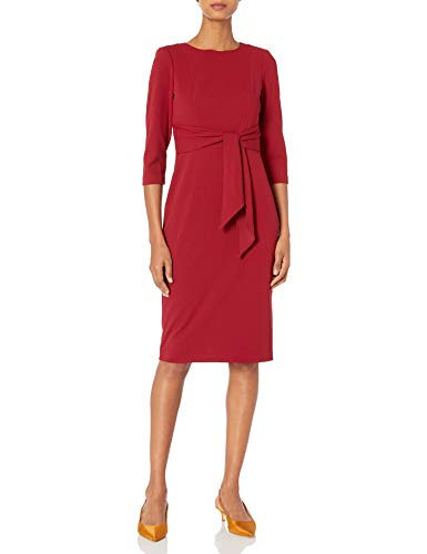 Adrianna Papell Women's Bow Sheath Dress with Three Quarter Sleeves, Red Samba, 8