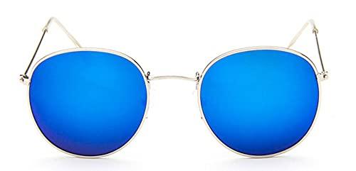 LOPIXUO Gafas de sol Gafas de sol ovaladas para mujer, retro, con lentes transparentes, gafas de sol redondas para mujer, plateado y azul