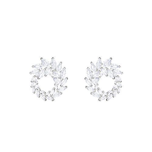 Swarovski Louison creolen voor vrouwen, wit kristal, gerhodineerd