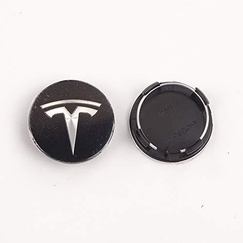 GONGYBZ Juego de 56mm, Cubierta de llanta de Rueda de Estilo de Coche, Tapa de Cubo Central, Tuerca de Rueda, decoración Exterior para Tesla Modelo 3 X S, Accesorios universales