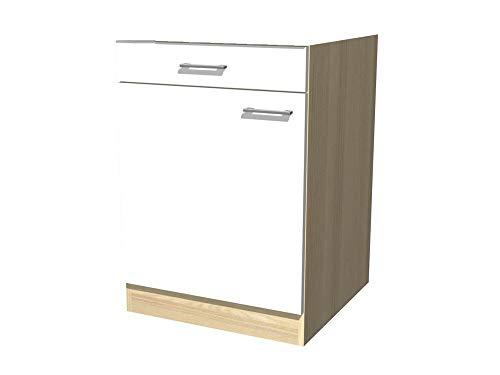 Küchenunterschrank 60 cm breit ohne Arbeitsplatte Creme Weiß Akazie - Ancona