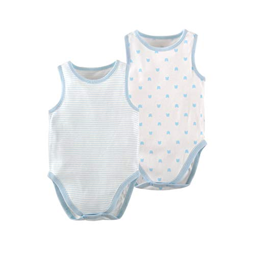 PAUBOLI - Body de algodón orgánico sin mangas para recién nacido, paquete de 2, 3 – 24 meses Azul azul 12-24 Meses