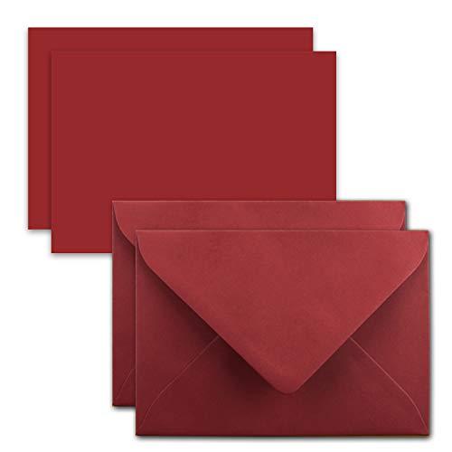 50x Karte mit Umschlag Set aus Einzel-Karten DIN A7-10,5x7,3 cm - Dunkelrot mit Brief-Umschlägen C7 Nassklebung ideale Geschenkanhänger