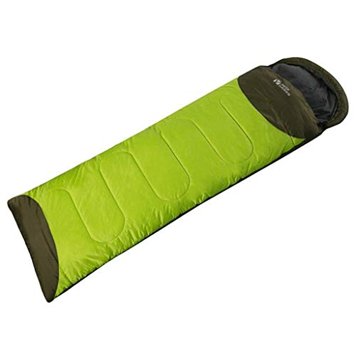 CATRP Alpinisme Camping Sac De Couchage Garder Chaud du Froid Protection Splicable Individuel Enveloppe Épaissir Coton (Color : Green, Size : 1.8kg)