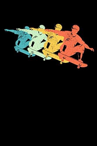 Notizbuch: Retro Skateboard Sprung Bunte Skateboard Silhouette Notizbuch DIN A5 120 Seiten für Notizen Zeichnungen Formeln   Organizer Schreibheft Planer Tagebuch