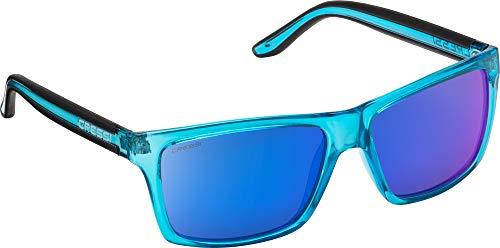 Cressi Unisex-Erwachsener Rio Sunglasses Premium Sport Sonnenbrille Polarisierte 100% UV-Schutz, Brillengestell Crystal Blau - Blau Verspiegelte Linsen, Einheitsgröße