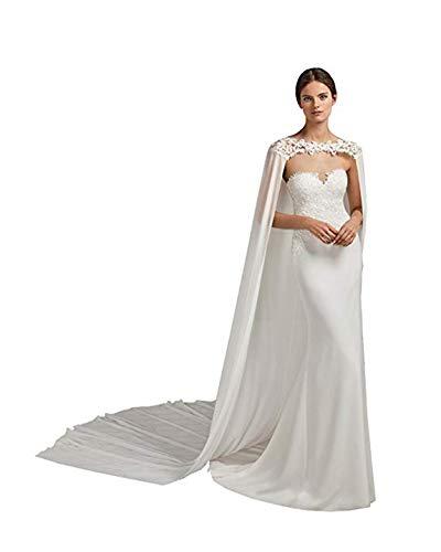 Alicebridal Women's Chiffon Appliques Lace Long Wedding Cape Off Shoulder Bridal Cloak White