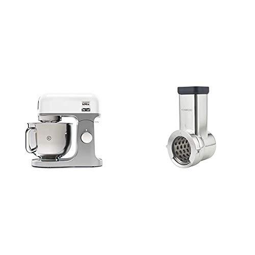 Kenwood KMX750WH Impastatrice Planetaria Kitchen Machine kMix, Robot da Cucina Mixer & KAX643ME Accessorio Tagliaverdure con 5 Rulli per Impastatrice Planetaria