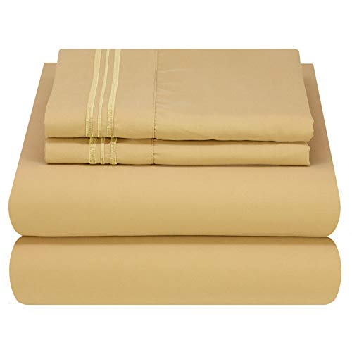 Mezzati Luxury Queen Bed Sheets - Soft and Comfortable 1800 Prestige Collection - Brushed Microfiber Bedding (Gold, Queen Size)