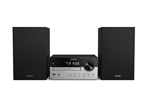Philips M4205 12 Mini Chaîne Hi-FI CD, USB, Bluetooth (Radio FM, CD-MP3, 60 W, Entrée Audio, Port USB pour Charge, Enceintes Bass Reflex, Contrôle Numérique du Son) - Modèle 2020 2021