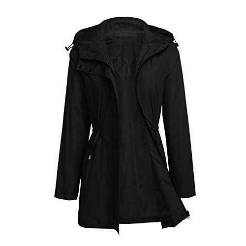 OutTop Women Anorak Safari Jacket Full-Zipper Water-Resistant Military Trench Coat Fashion Windbeaker Cargo Parka (Black, S)