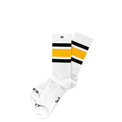 Spirit of 76 Black 'N Yellow Lo | Halbhohe Retro Socken mit Streifen | Weiß, Schwarz & Gelb gestreift | knöchelhoch | stylische Unisex Ringelsocken Größe M (39-42)