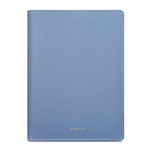 XXT Eficiencia añadido Auto-Manual pequeña Oficina de Cuero Cuaderno Cuaderno de Hojas Sueltas Universal añadido Auto-Bloc de Notas (Color : Blue)
